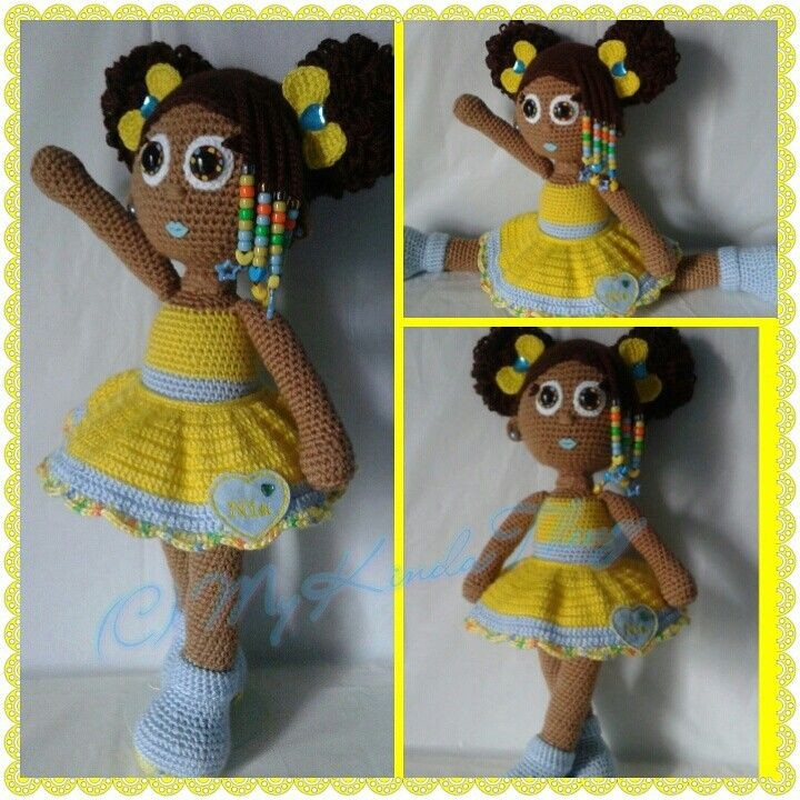 Crochet Doll; African American girl with curly afr...