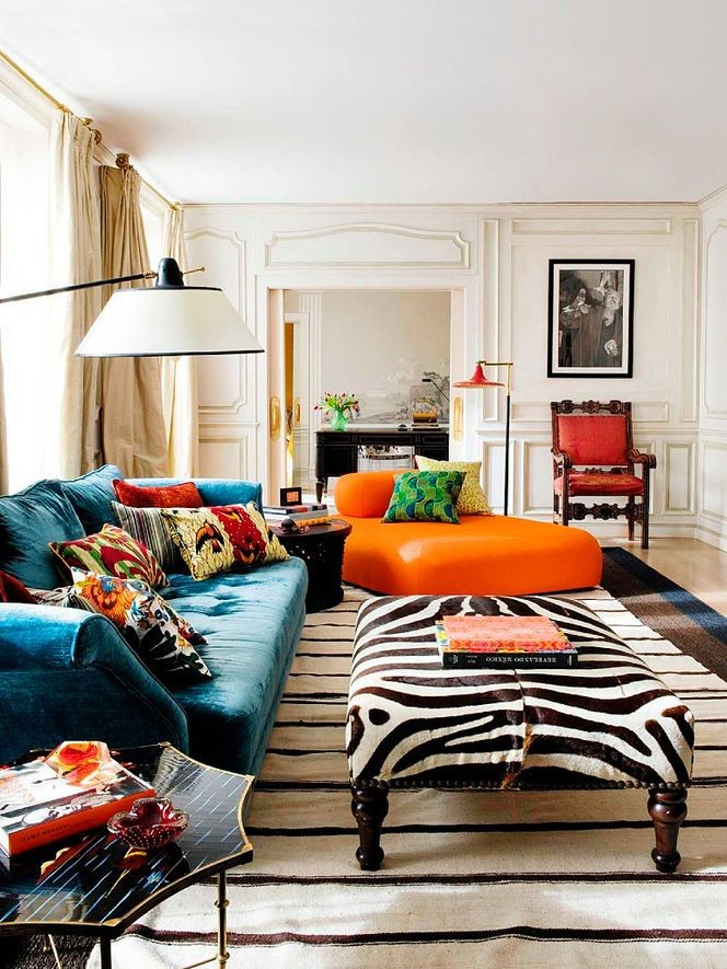 Teal, orange + bold print-love these colors for th...