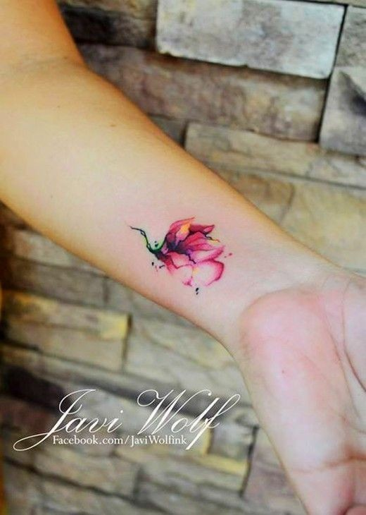mini watercolor tattoos, wrist tattoos, tattoo ide...