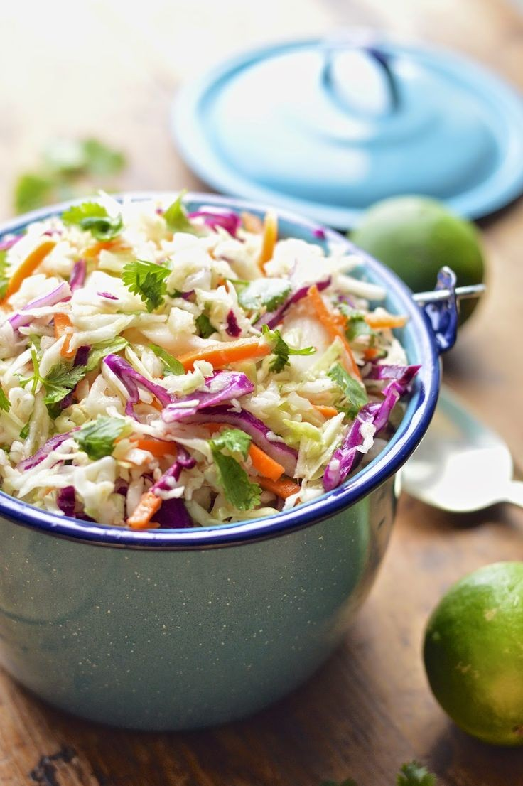 This Mexican cole slaw is lightened up with fresh...