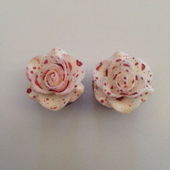 Bloody Rose Ear Plugs by TeacupRose on Etsy, $22.0...