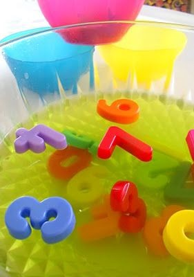 Slimey, messy play idea - sink magnetic numbers in...