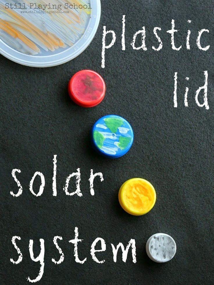 Create a solar system of recycled plastic lid plan...