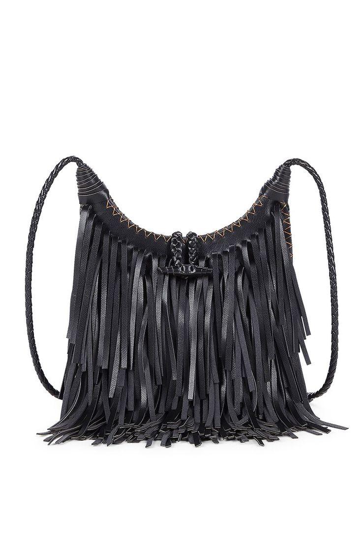 Black fringe crossbody bag with a braided strap an...