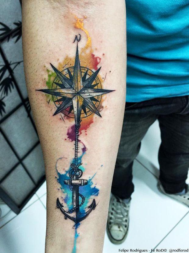 Watercolor tattoo Felipe Rodrigues bússola &#...