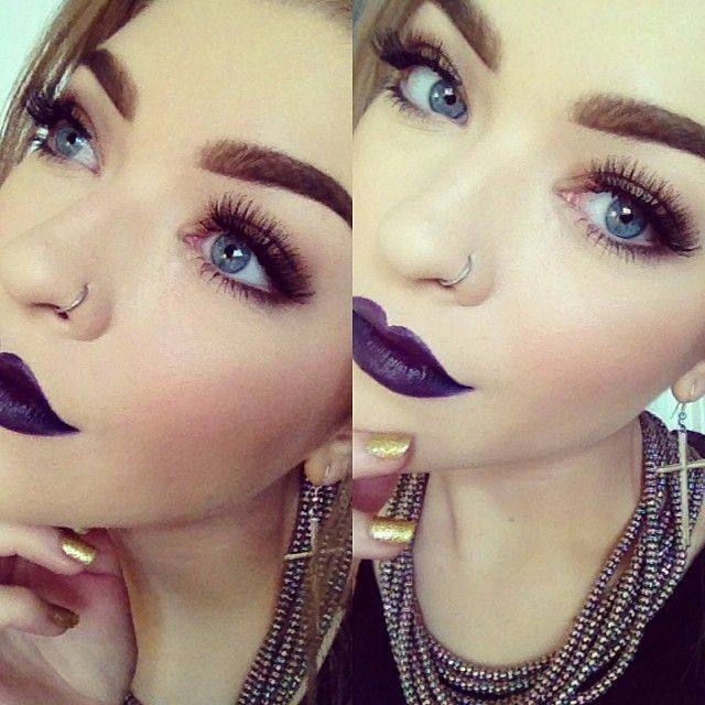 Beautiful Dark Purple Lips Makeup - Lashes - Nose...
