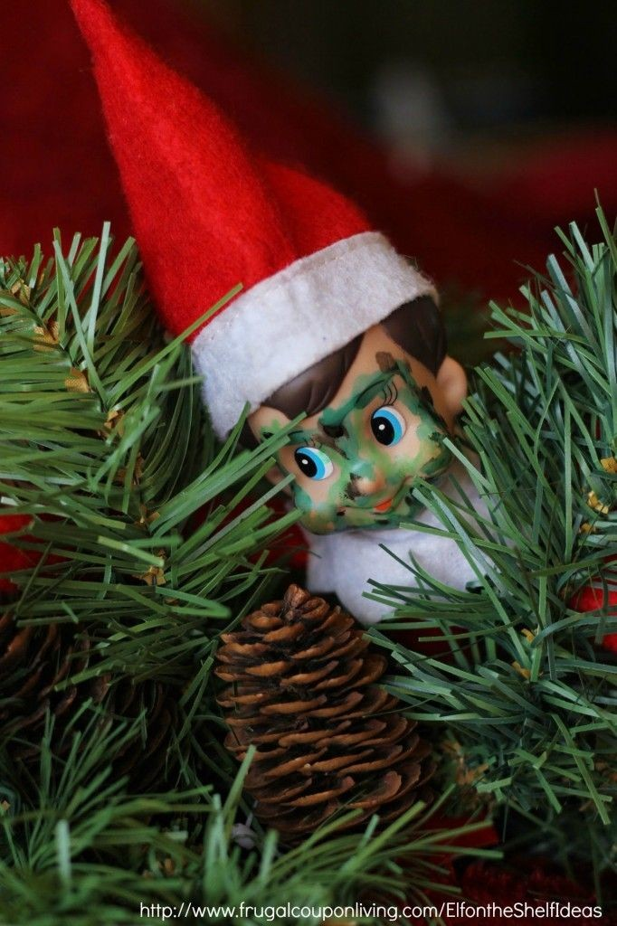 Elf on the Shelf Ideas –  Elf is Camo in the Chris...