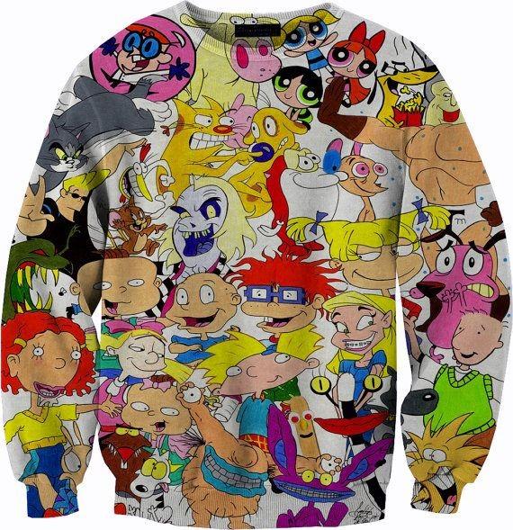 90's Vintage Nickelodeon Sweater Tshirt Crewneck S...