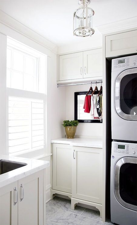 Style at Home: Contemporary laundry room with stac...
