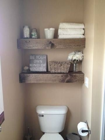 Love these rustic shelves. They really add a lot o...