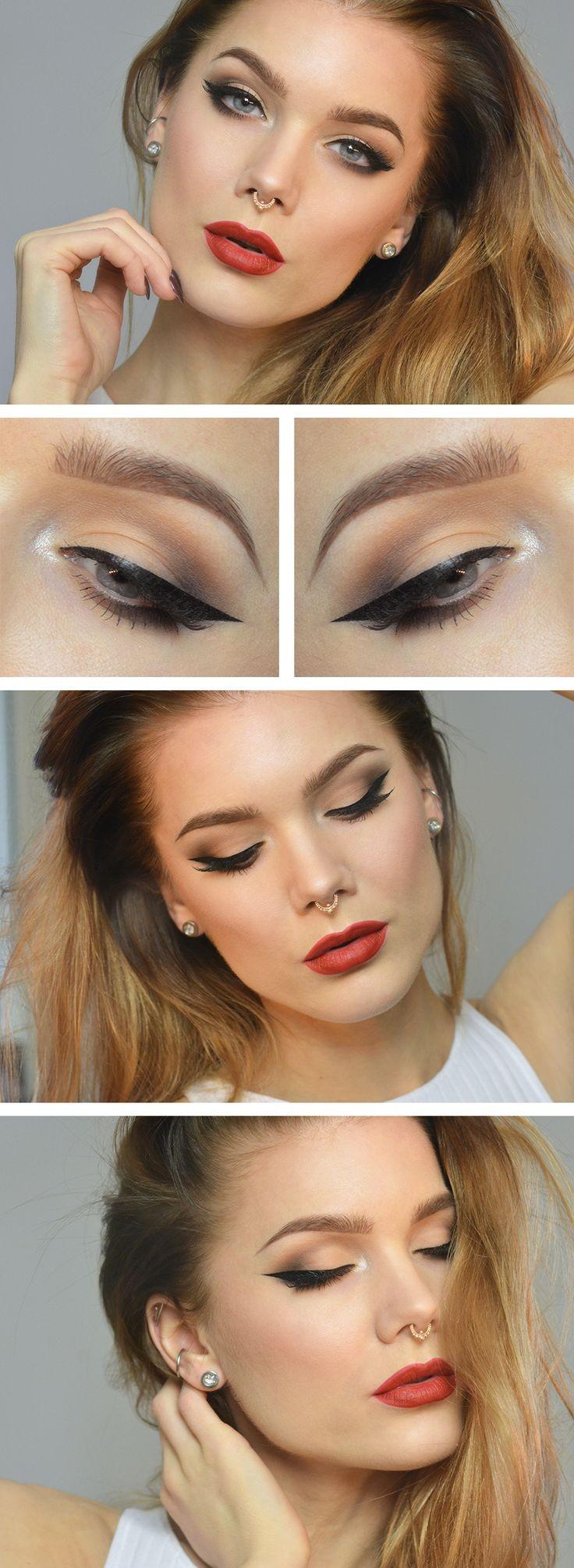 Linda Hallberg - winged eyeliner and red lip