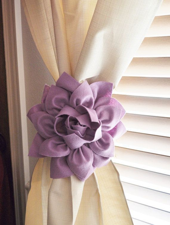 TWO Dahlia Flower Curtain Tie Backs Curtain Tiebac...