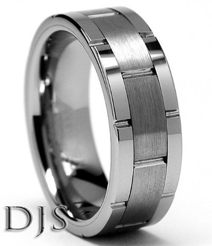 Men's Tungsten Carbide Grooved Ring Wedding Band S...