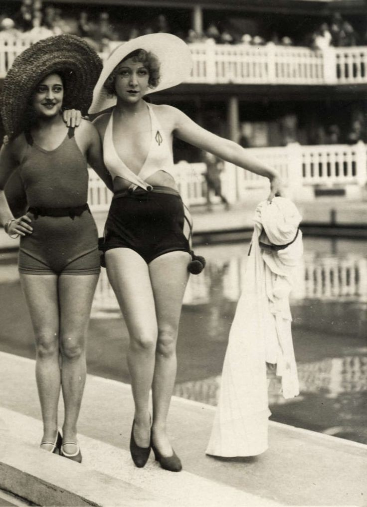 1930's bathing beauties. The one with the low neck...