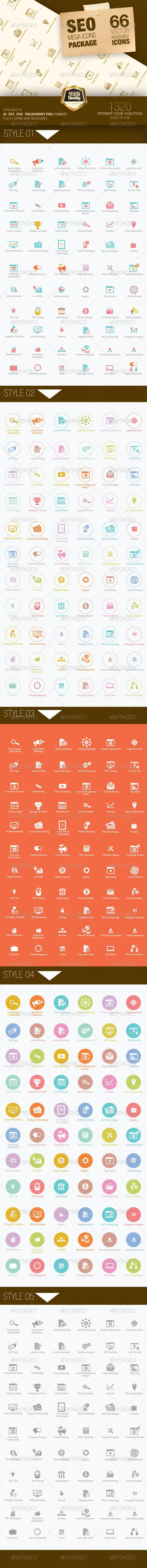 Seo Mega Icons Pack  #GraphicRiver           Creat...