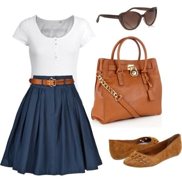 Navy blue classic skirt, nice white tee, and brown...