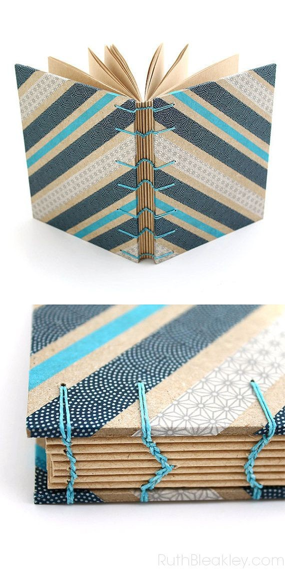 Blue Washi Tape Journal by RuthBleakley #coptic #b...