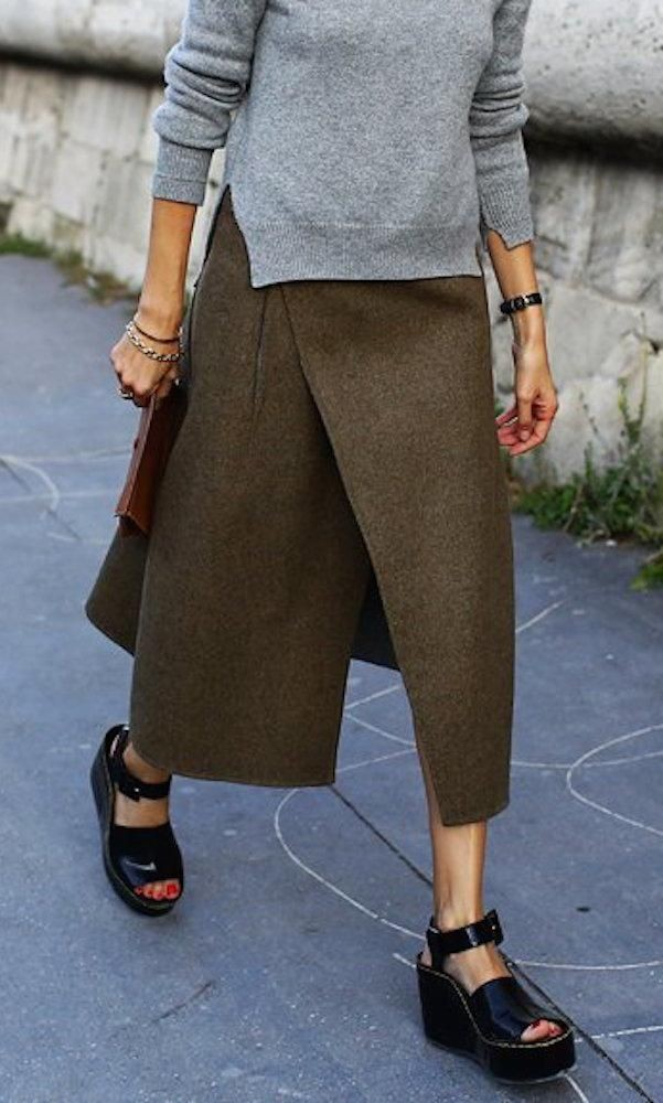 Grey sweater, olive wool wrap skirt, black Cé...