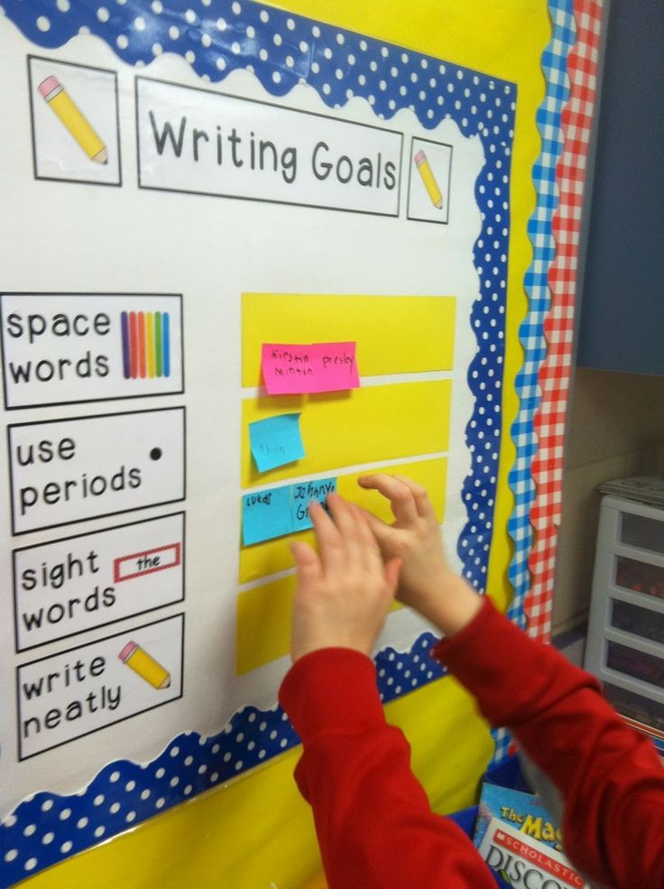 Writing Goal Board Students use post-its to self-e...
