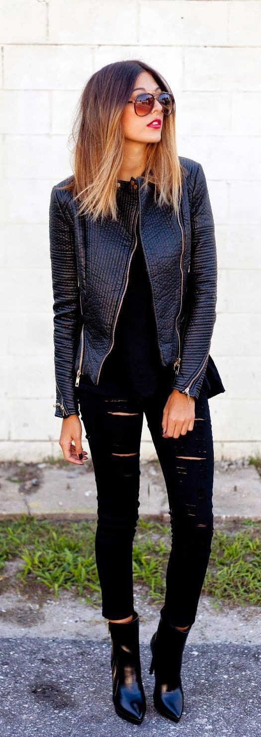 Everything Perfect Black Street Outfits | Leather...