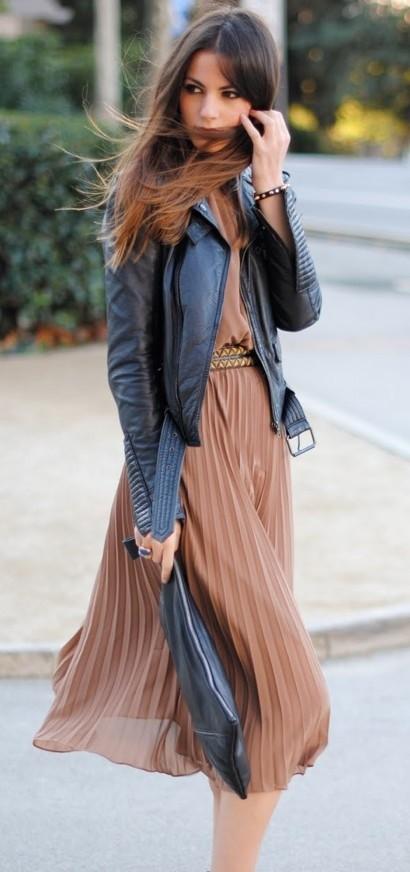 Midi dress + leather jacket