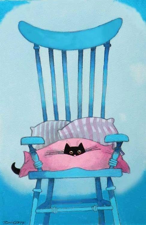 Cute artwork of black kitty peeking out of pink bl...