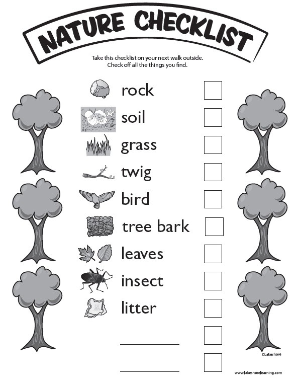 Nature Checklist at Lakeshore Learning: Take the k...