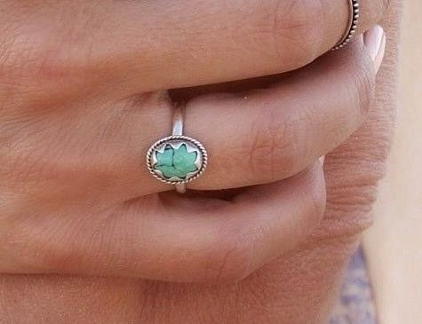 Natural Turquoise Star ring in Solid 925 Sterling...