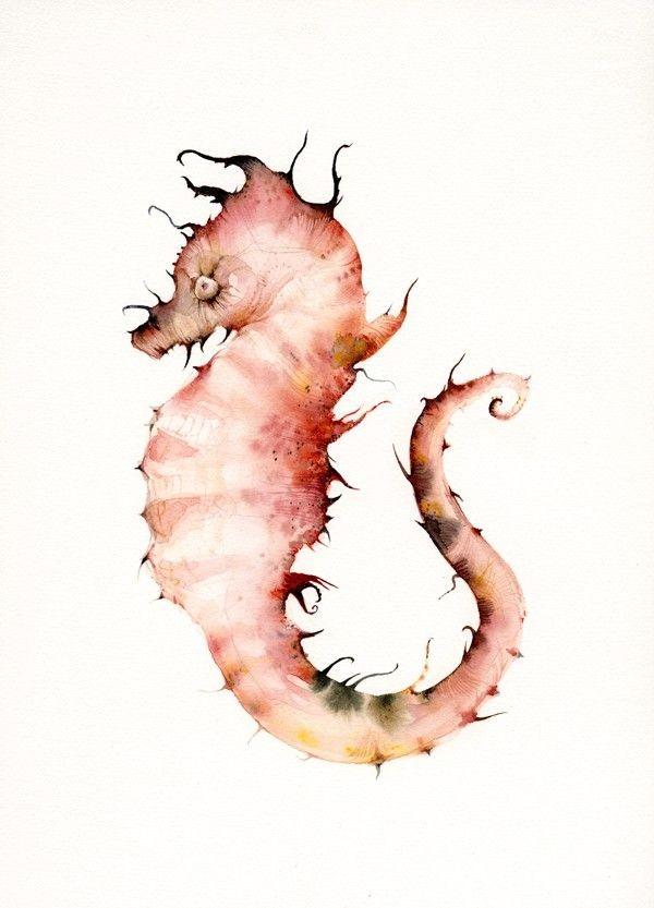 Coral Seahorse- seahorse print- nautical decor. $2...
