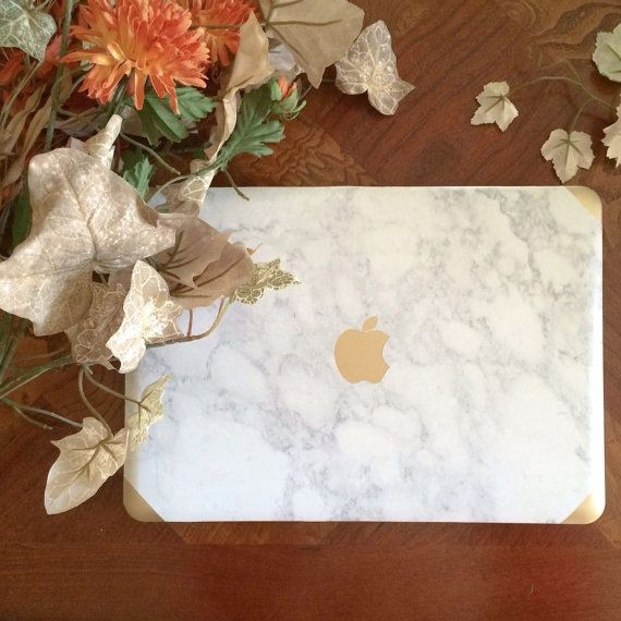 Marble and Gold MacBook Air and Pro Laptop case wi...