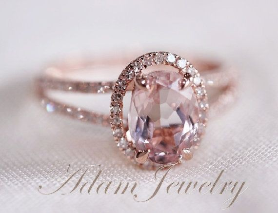 Halo Oval VS 6x8mm Morganite Ring/ Engagement Ring...