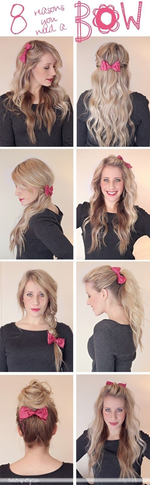 pretty hairstyles with bows
