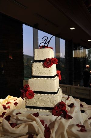 beautiful red black and white wedding cake  Shanna...