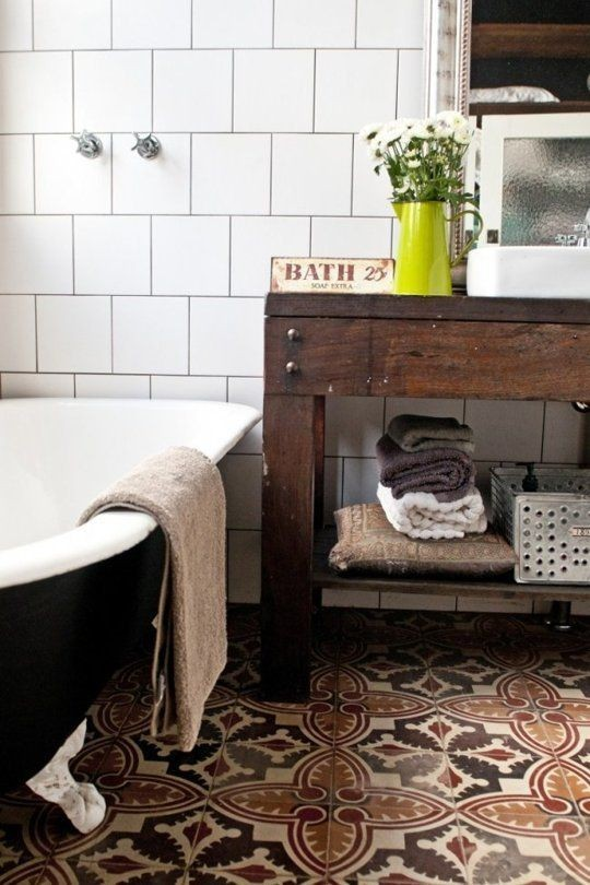 Recycled Spanish tiles make up the floor in this g...
