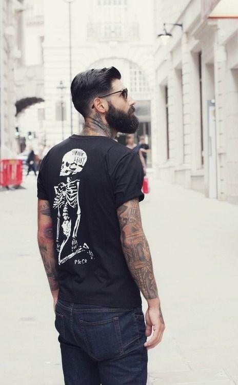 5e2c10f66 black full beard beards bearded man men style stylish tattoo tattoos ...