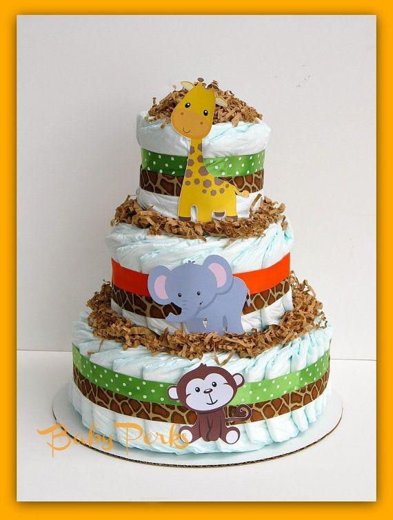 Jungle Diaper Cake Jungle Baby shower  Baby Shower...