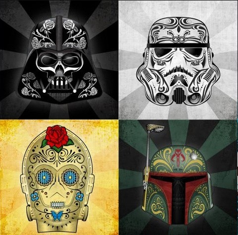 StarWars sugar skulls. How nerds and geeks decorat...
