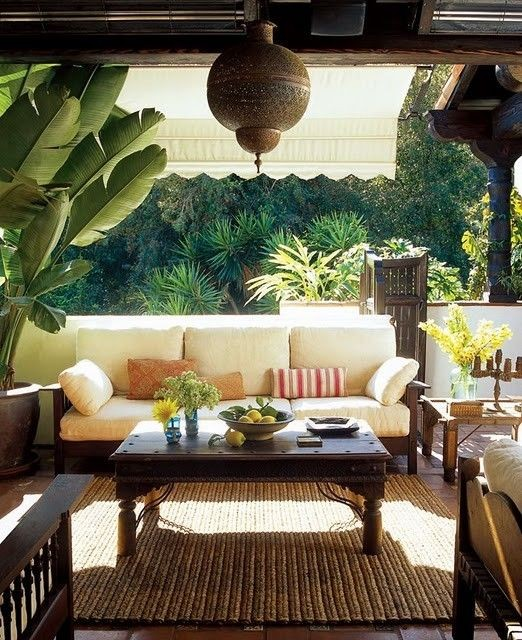 Outdoor Living Space on covered deck, love the dec...