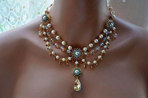 Bridal Gold Necklace,Swarovski Crystal and Pearl N...