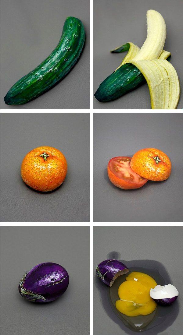 Artist Hiraku Cho paints the outside of fruits and...