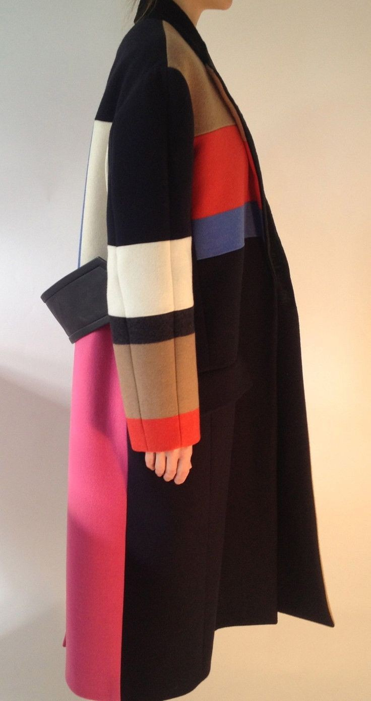 oversized colour block coat • céline