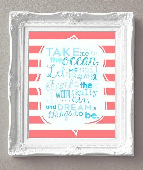 Take Me to the Ocean...  Girl Nautical  - Mermaid...