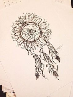 sunflower/dreamcatcher tat, love this.