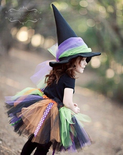 Cute witch costume, its an EASY DIY. Google no sew...
