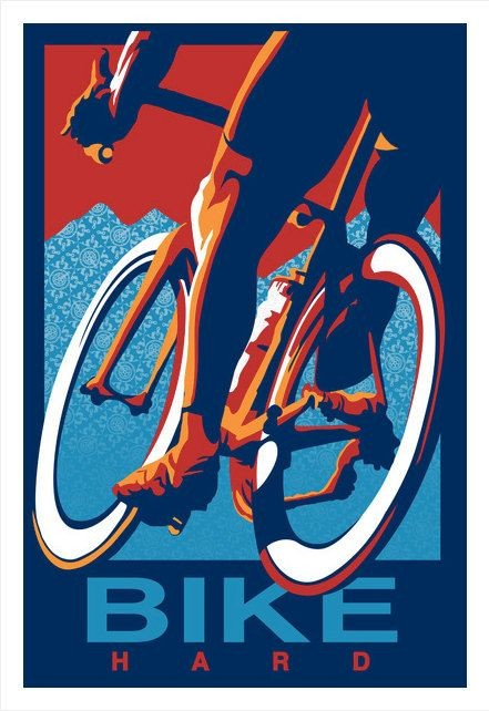 Retro Cycling Print Illustration Poster: Ride Hard...