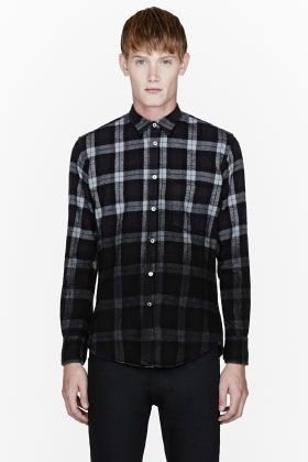PUBLIC SCHOOL Black flannel degraded plaid shirt