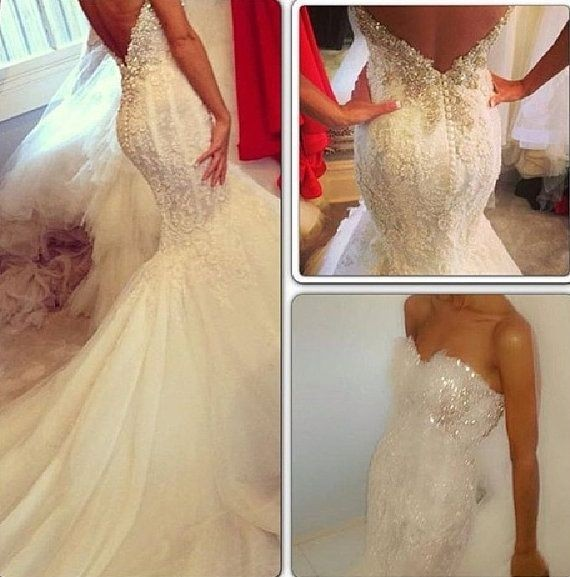 Mermaid Backless Wedding DressSexy Open Back by Fa...