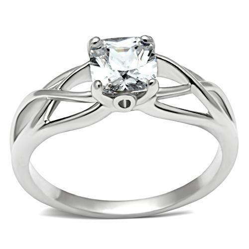 Womens Elite Intertwined - Rhodium Solitaire Stone...