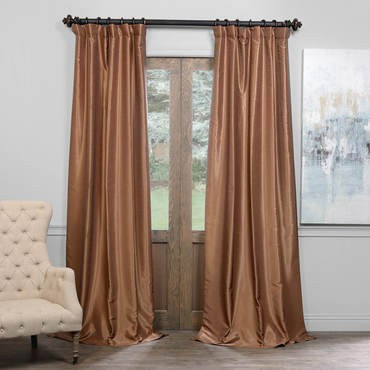 Flax Gold Blackout Vintage Textured Faux Dupioni C...