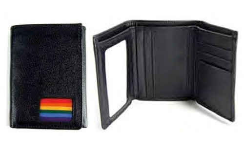 (Rainbow Square Flag Design) Black Leather Trifold...
